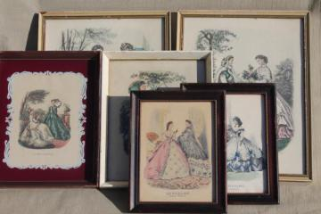 collection of vintage framed Godey girls antique ladies fashion prints