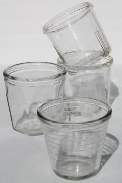collection of vintage glass beater jars, kitchen mixer mixing bowl measures