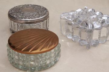 collection of vintage glass powder puff boxes, vanity dressing table jars