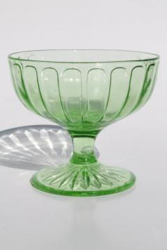 collection of vintage green depression glass sherbet bowls or ice cream dishes