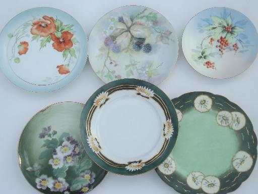 collection of vintage hand-painted china plates w/ fall fruit & flowers