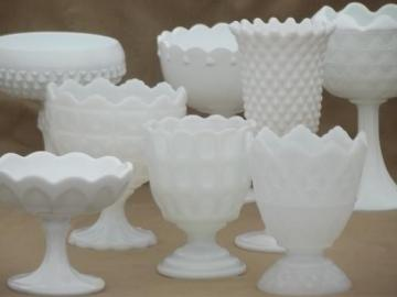 collection of vintage milk glass vases, pedestal bowls, compotes each different