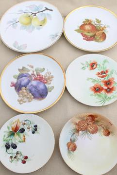 collection of vintage painted china plates w/ fall harvest fruit, flowers, pinecones