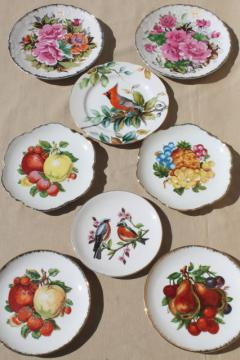 collection of vintage painted china plates w/ fruit, flowers, song birds