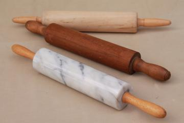 collection of vintage rolling pins, primitive wood rolling pin, marble rolling pin