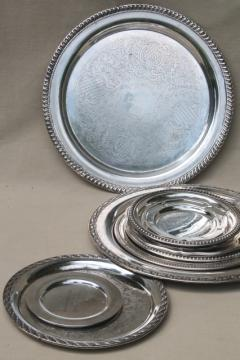 collection of vintage silverplate trophy plates & trays, etched silver plated pieces