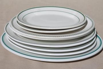 collection of vintage white ironstone china platters / restaurant ware steak plates