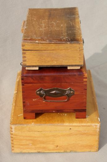 collection of vintage wooden boxes, wood jewelry box, glove box, old cigar box