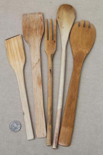 Collection of vintage wooden kitchen utensils wood spoons for Wooden kitchen spoons