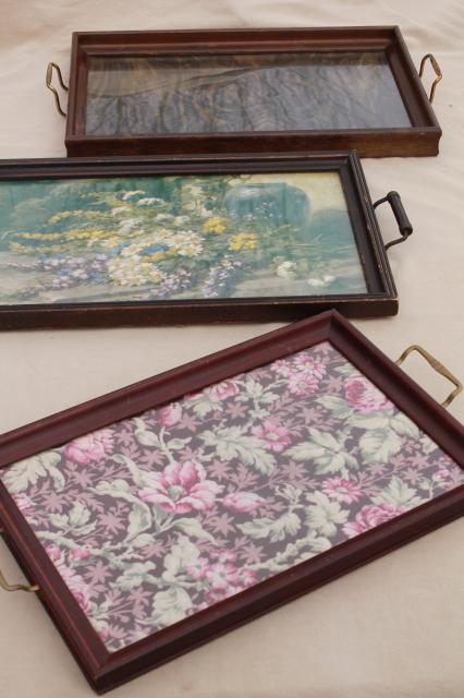 collection of wood frame trays, antique vintage glass topped serving ...