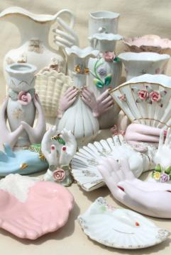 collection vintage ladies hand vases figurines, lady-like white & pink porcelain show of hands