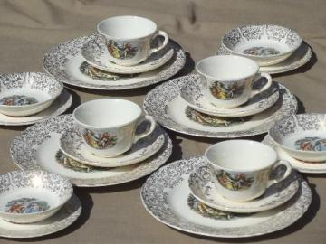 colonial couple pattern luncheon set, vintage W S George china w/ french scenes