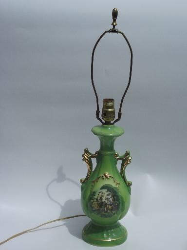 Colonial Courting Couple Painted China Table Lamp 1940s
