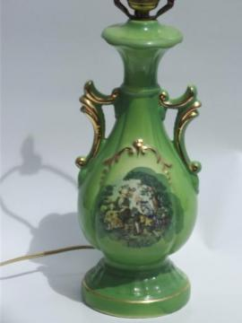 colonial courting couple painted china table lamp, 1940s vintage