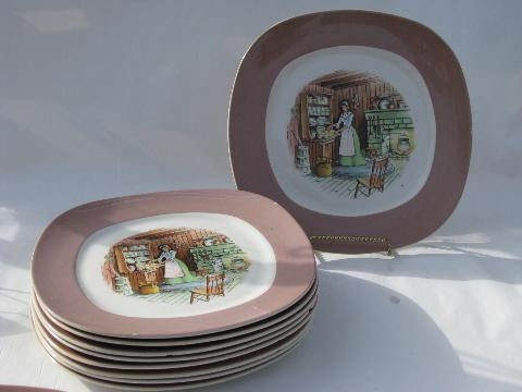colonial kitchen hearth scene Taylor Smith u0026 Taylor china vintage dinner plates lot & colonial kitchen hearth scene Taylor Smith u0026 Taylor china vintage ...