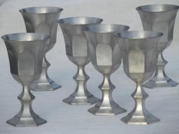 colonial style vintage pewter goblets, large wine glasses set of 6