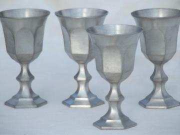 colonial style vintage pewter goblets, small sherry glasses set