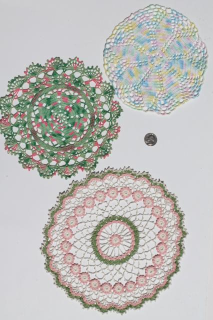 Colored Cotton Lace Crochet Doily Lot Vintage Doilies In