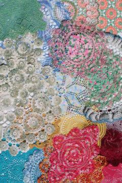 colored cotton lace crochet doily lot, vintage doilies in all sizes & colors