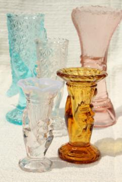 colored glass figural flower vases, pressed glass lady hand holding vase collection