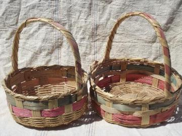 colored stripes vintage Mexico woven baskets for Easter flowers