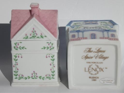 complete Lenox china Spice Village spices jars set and wood wall rack shelf
