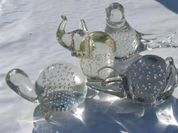 controlled bubbles vintage art glass paperweights, crystal bird, turtle, elephant, mouse