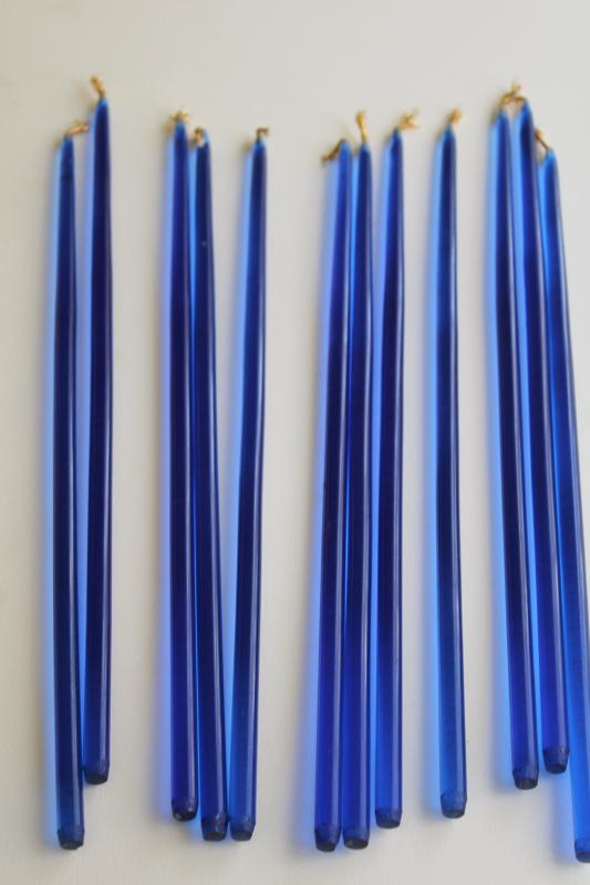 cool blue lucite candles, tall mod tiny tapers mid-century modern vintage