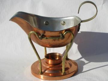 copper and brass gravy or sauce boat, pitcher on candle warmer stand