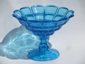 copper blue block pattern compote bowl, Fostoria reproduction Sandwich glass