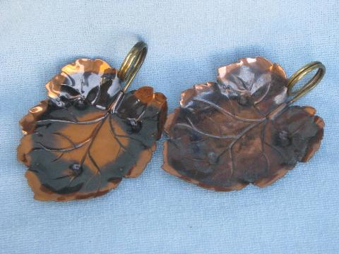copper leaf shape dishes, hand-wrought leaves w/ brass ring handles