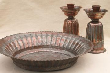 copper w/ silver wash vintage tooled metalware, large bowl & pair of candlesticks