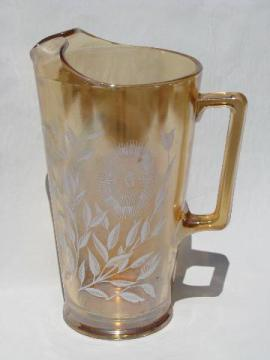 copper tint peach luster vintage kitchen glass pitcher, white flowers