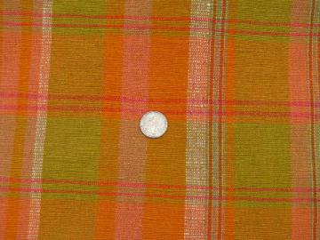 corde weave textured heavy cotton fabric, vintage 60s, retro orange plaid!