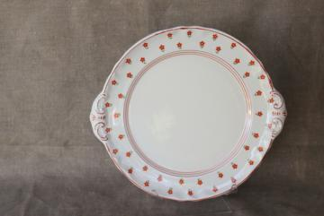 cottage chic vintage hand painted Japan china tray or server, cozy style cake plate