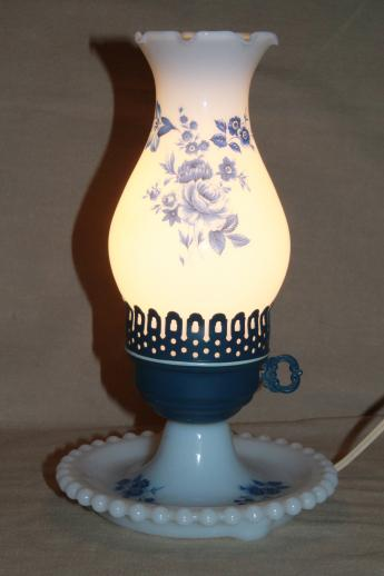 Cottage Chic Vintage Milk Glass Lamp W/ Hurricane Shade, Blue Chintz Floral
