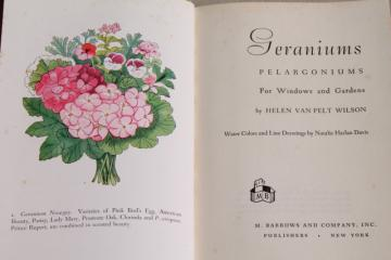 cottage flowers 40s 50s vintage garden book Geraniums Pelargoniums w/ illustrations