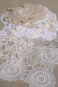 cottage style crochet doily lot, vintage & new cotton lace doilies in all sizes