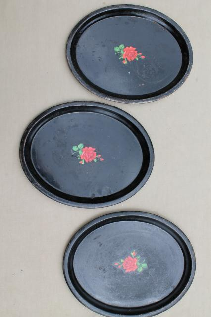 cottage tray set, shabby vintage tole trays w/ hand-painted flowers on black