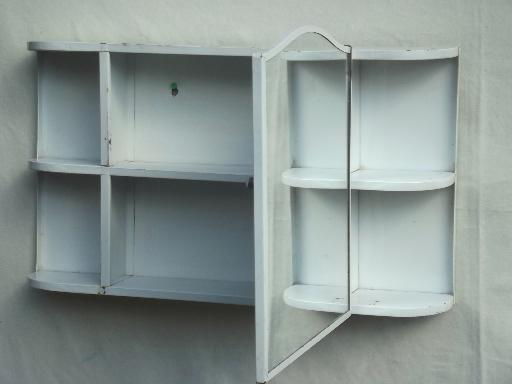 vintage metal medicine cabinet, wall mirror w/ bathroom shelves