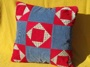 cotton print & corduroy patchwork quilt blocks pillow cover and pillow