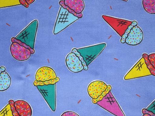 Cotton twill fabric w ice cream cones print children 39 s for Novelty children s fabric