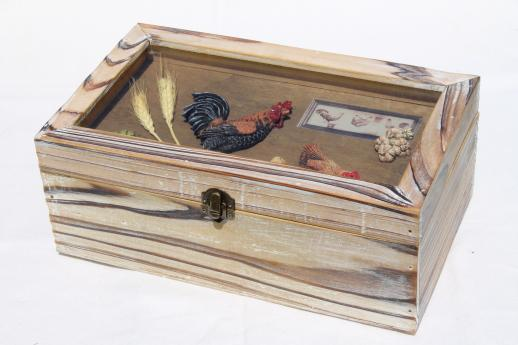 country kitchen hen & rooster rustic wood storage box for recipes etc.