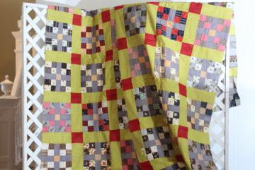 country primitive old antique patchwork quilt top, red yellow blue print cotton fabric blocks