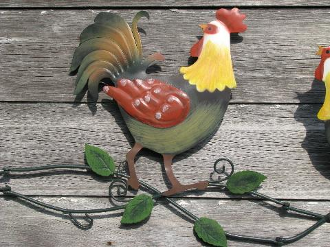 country roosters, painted tole metal wall art, not vintage, but cute!