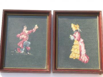 courting couple pair of vintage needlepoint pictures, framed needlepoints