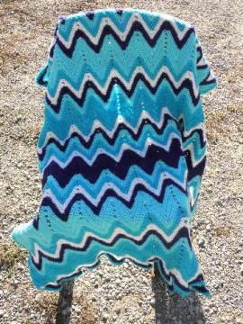 cozy vintage hand-crocheted wool afghan throw blanket, shades of blue