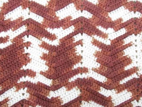 cozy vintage handmade crochet afghan throw blanket, brown & cream