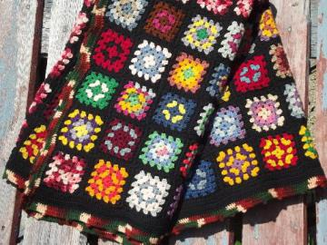cozy vintage wool afghan throw blanket, retro granny squares crochet