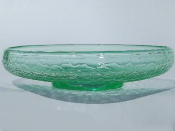 crackle pattern green depression glass bowl, vintage bulb dish or flower bowl